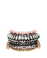 Venna - Multicolor Sunburst Jewel Spike Tier Bracelet - Lyst