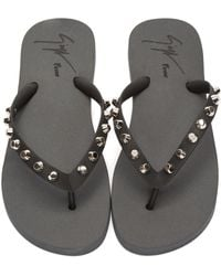 Giuseppe Zanotti - Black & Silver Studded Hollywood Sandals - Lyst