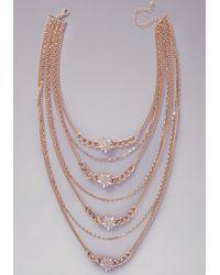 Bebe - Metallic Long Crystal Tier Necklace - Lyst