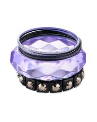 Material Girl - Blacktone Purple Glitter Bangle Bracelets - Lyst