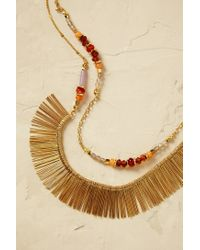 Anthropologie | Metallic Sunray Beaded Necklace | Lyst