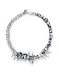 Assad Mounser | Metallic Crystal Vine Spike Necklace | Lyst