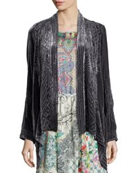 Johnny Was | Black Kaiya Velvet Draped Cardigan | Lyst