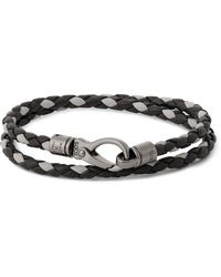 Tod's - Black Woven Leather Wrap Bracelet for Men - Lyst