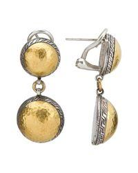 Gurhan - Metallic Sterling Silver & 24k Gold Flattened Back Double Pendant Earrings - Lyst