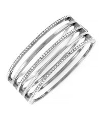 Vince Camuto | Metallic Silvertone And Crystal Stacked Bangle Bracelet | Lyst