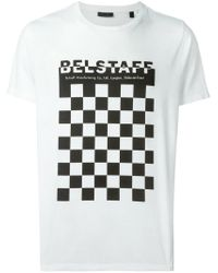 Belstaff - White Check Board Print T-shirt for Men - Lyst