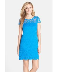 Donna Ricco | Blue Illusion Yoke Scalloped Lace Shift Dress | Lyst