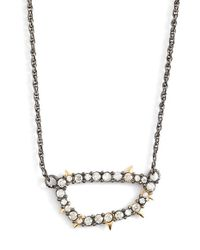 Alexis Bittar | Metallic Alex Bittar 'elements' Spike Crystal Link Pendant Necklace - Gunmetal | Lyst
