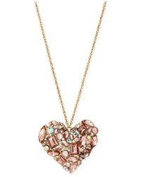 Betsey Johnson | Pink Mixed Bead Heart Pendant Necklace | Lyst
