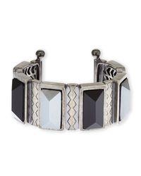 Rebecca Minkoff - Blue Silver-Tone & Black Cuff Bracelet - Lyst