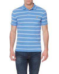 Polo Ralph Lauren   Blue Fine Stripe Slim Fit Polo Shirt for Men   Lyst
