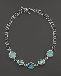 Ippolita | Metallic Sterling Silver Wonderland Large Multi Shape 5 Stone Necklace In Tahiti, 18"