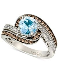 Le Vian | Blue Aquamarine (1 Ct. T.w.) And Diamond (3/8 Ct. T.w.) Ring In 14k White Gold | Lyst