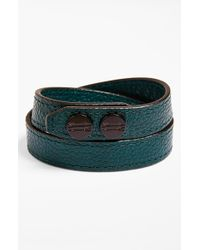Ben Minkoff | Green Leather Wrap Bracelet - Deep Sea for Men | Lyst
