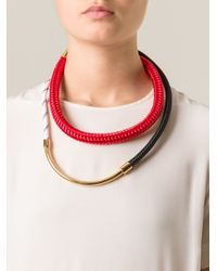 Marni | Red Contrasting Panel Necklace | Lyst
