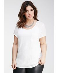 Forever 21 - White Plus Size Slub Knit Pocket Tee - Lyst
