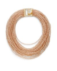 Saks Fifth Avenue - Draped Beaded Statement Necklace/orange & Goldtone - Lyst