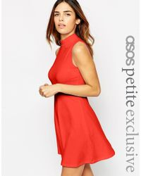 ASOS | Red Dress With High Neck | Lyst