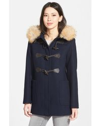 Pendleton | Blue 'berkley' Wool Blend Twill Duffle Coat With Genuine Coyote Fur Trim | Lyst