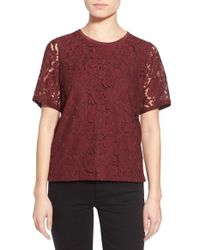 Madewell - Red Lace Tee - Lyst
