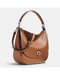 COACH - Metallic Turnlock Hobo In Pebble Leather - Lyst
