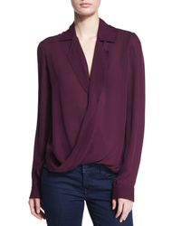 L'Agence - Purple Rita Long-sleeve Silk Blouse - Lyst