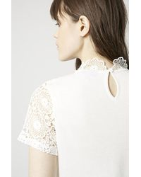 TOPSHOP - White High Neck Crochet Top - Lyst