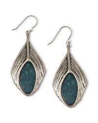 Lucky Brand - Blue Silver Tone Semiprecious Turquoise Feather Drop Earrings - Lyst