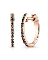 Anne Sisteron | Pink 14kt Rose Gold Black Diamond Huggie Earrings | Lyst
