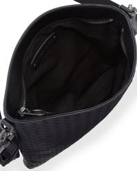 Bottega Veneta - Black Men's Woven Zip-top Messenger Bag - Lyst