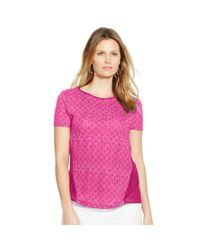 Ralph Lauren - Pink Paneled Linen-cotton Tee - Lyst
