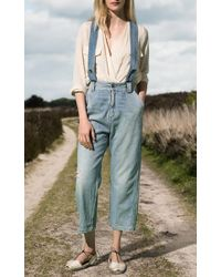 Sea - Blue Hand Washed Denim Overalls - Lyst