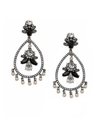 Marchesa | Black Jeweled And Faux Pearl Teardrop Earrings | Lyst