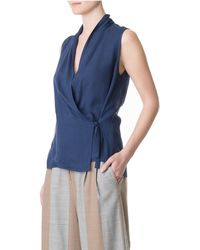 Tibi - Blue Wool Gauze Sleeveless Wrap Top - Lyst