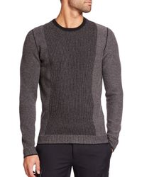 VINCE | Black Contrast-stripe Wool & Cashmere Sweater for Men | Lyst