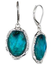 Jones New York - Blue Silver-tone Oval Stone Drop Earrings - Lyst