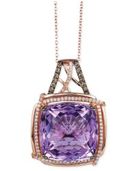 Le Vian | Purple Lavender Quartz (21-1/4 Ct. T.w.) And Diamond (3/8 Ct. T.w.) Pendant Necklace In 14k Rose Gold | Lyst