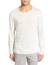 Vince - Natural Linen Feeder Stripe Long Sleeve T-shirt for Men - Lyst