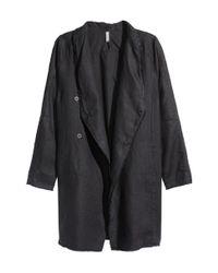 H&M - Black Linen Coat for Men - Lyst