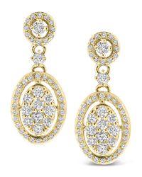 KC Designs - Metallic Diamond Oval Dangle Earrings - Lyst