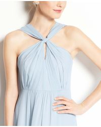 Ann Taylor | Blue Silk Georgette Keyhole Halter Dress | Lyst