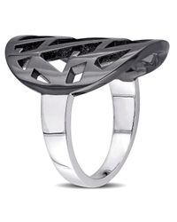 Versace - Openwork Ring In Sterling Silver With Black Rhodium - Lyst