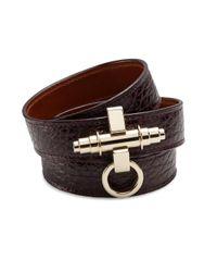 Givenchy - Purple Obsedia Three-Row Leather Wrap Bracelet - Lyst