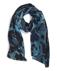 Burberry - Blue Animal Print Check Silk Scarf - Lyst