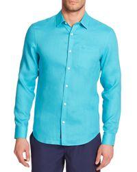 Original Penguin - Blue Solid Linen Sportshirt for Men - Lyst