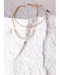 Missguided - Metallic Pearl Detail Double Chain Anklet Gold - Lyst