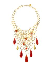 Devon Leigh - Metallic 18k Gold-plated Multi-strand Carmelian Necklace - Lyst