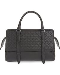 Bottega Veneta | Black Monaco Intrecciato Leather Shoulder Bag | Lyst