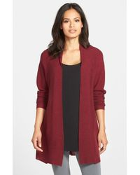 Eileen Fisher | Red Merino Open Front Cardigan | Lyst